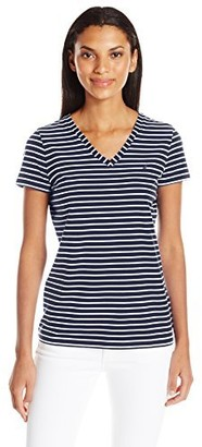 Nautica Women's Short Sleeve Stretch V Neck Stripe Tshirt