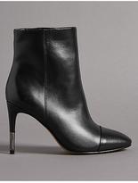 Autograph Leather Stiletto Heel Toe Cap Ankle Boots