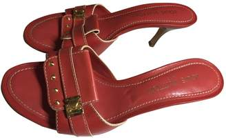 Louis Vuitton Red Leather Mules & Clogs