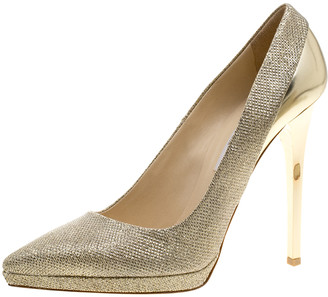 Jimmy Choo Metallic Gold Lame and Leather Aude Pointed Toe Platform Pumps Size 41