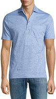 Luciano Barbera Cotton-Linen Blend Polo Shirt, Light Blue