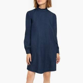 La Redoute Collections Short Denim Shift Dress with Ruffled High Neck