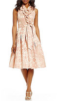 Jessica Howard Floral Jacquard Ruffle Surplice V-Neck Party Dress