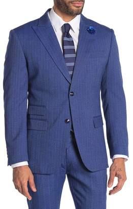TR Premium Pinstripe Two Button Peak Lapel Slim Fit Blazer