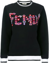 Fendi embellished heart sweatshirt - women - Silk/Cotton/Polyamide - 40