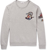 Valentino Embellished Loopback Cotton-blend Jersey Sweatshirt - Gray