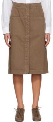 Lemaire Brown Denim Straight Skirt