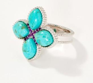 Generation Gems Sterling Silver Flower Cabochon Gemstone Ring