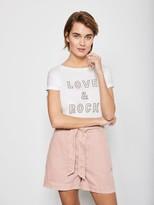 Mint Velvet Paperbag Denim Short - Pale Pink