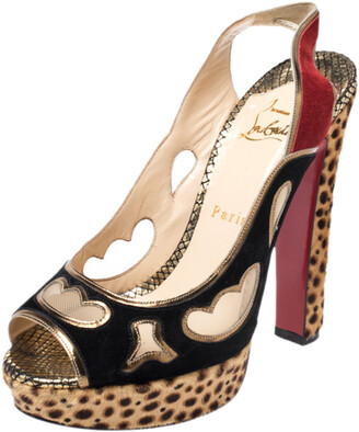 Christian Louboutin Multicolor Cutout Suede, Pony Hair And Mesh Platform Slingback Sandals Size 38