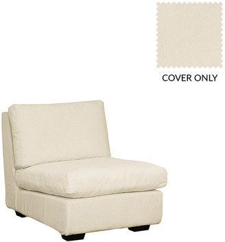 OKA Savile Linen Armless Sofa Chair Loose Cover - Off White