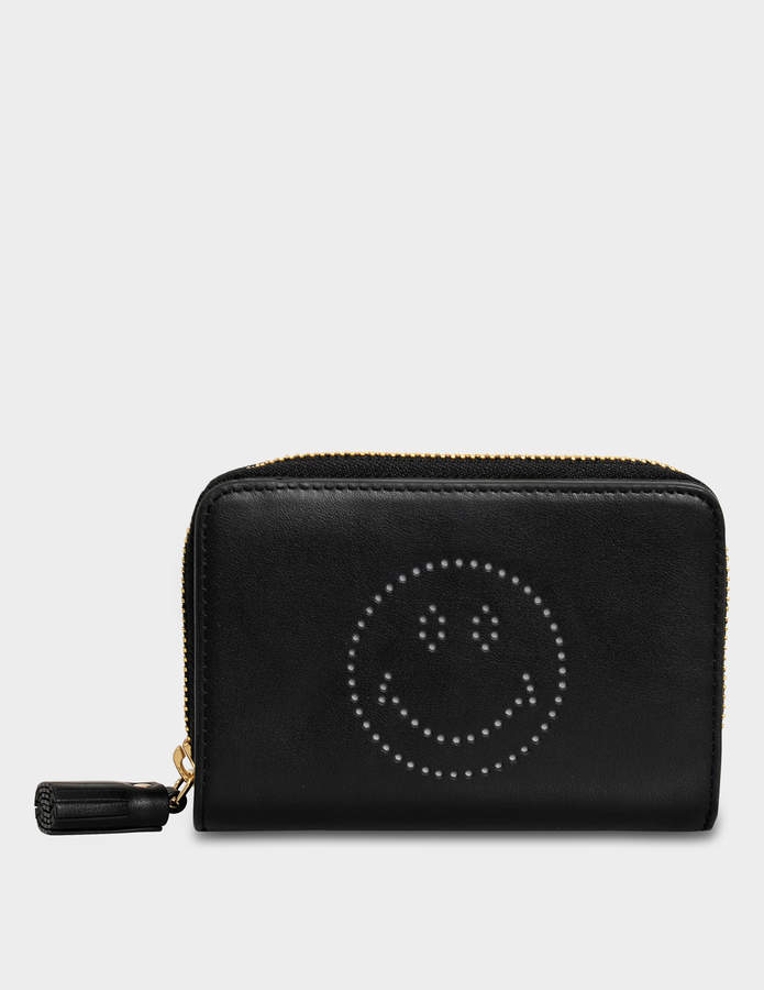 Anya Hindmarch Smiley Compact Wallet in Black Circus Leather
