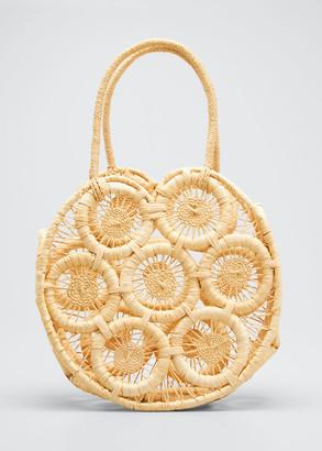Sensi Round Straw Top Handle Tote Bag