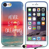 iPhone 7 Case (4.7-inch), iPhone 7 Cover, MerKuyom [Slim-Fit] [iPhone 7] [Flexible Gel] Soft TPU Case Skin Rubber Protective Cover W/ Stylus For Apple iPhone 7 (2016) – 4.7 inch (Never Stop Dreaming)