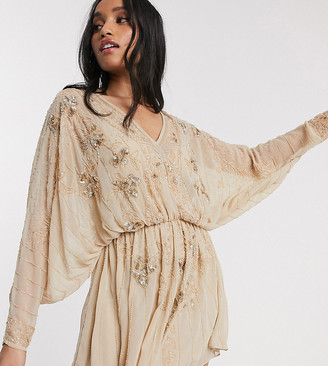 ASOS DESIGN Petite cape kimono embellished mini dress in Taupe