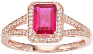 Unbranded 14k Rose Gold Ruby & 1/6 Carat T.W. Diamond Split Shank Ring
