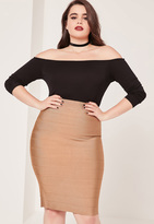 Missguided Plus Size Bandage Split Midi Skirt Camel
