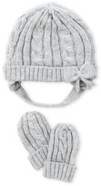 Laura Ashley Infant Girls) Grey Cable Knit Hat & Mittens Set