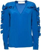 Victoria Beckham Light Blue Silk Top