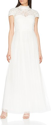 Little Mistress Women's Lace High Neck Bridal Dress Party