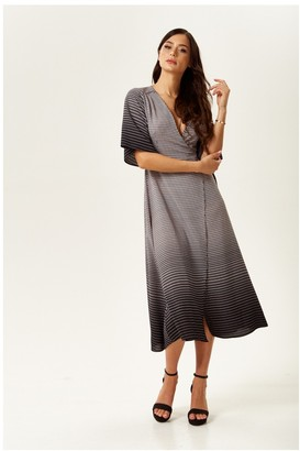 Liquorish Black and White Midi Wrap Dress