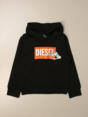 Diesel Hooded Sweatshirt With Skeleton Logo