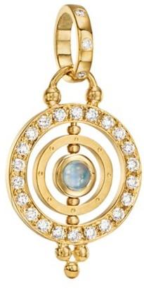 Temple St. Clair Royal Blue Moonstone & 18K Gold Dual Ring Pendant
