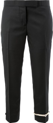 Thom Browne embroidered ankle cropped trousers