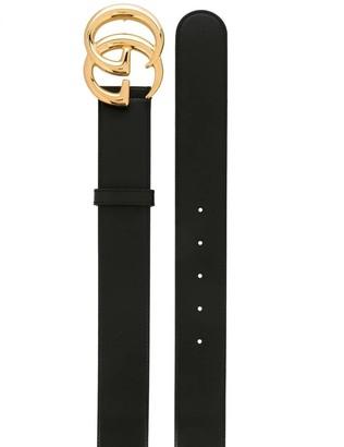 Gucci Black Leather Logo Belt