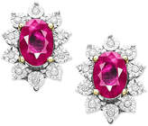 Macy's 10k Gold Earrings, Ruby (1-1/3 ct. t.w.) and Diamond (5/8 ct. t.w.) Oval Stud Earrings