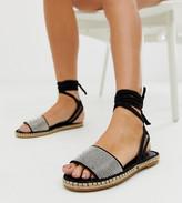Jamila Asos Design ASOS DESIGN diamante tie leg espadrille sandals