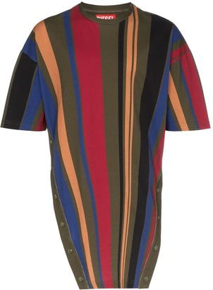 Diesel Red Tag Popper Button Stripe Print Cotton T Shirt