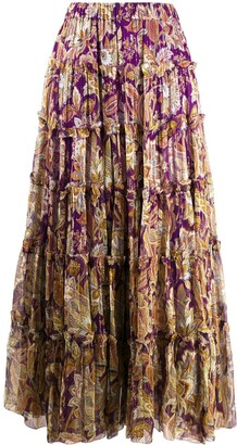 Zimmermann Ladybeetle floral-print tiered skirt