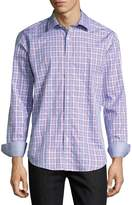Bugatchi Grid-Print Sport Shirt, Sky