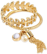 INC International Concepts M. Haskell for Gold-Tone 2-Pc. Set Charm and Crystal Rings, Only at Macy's
