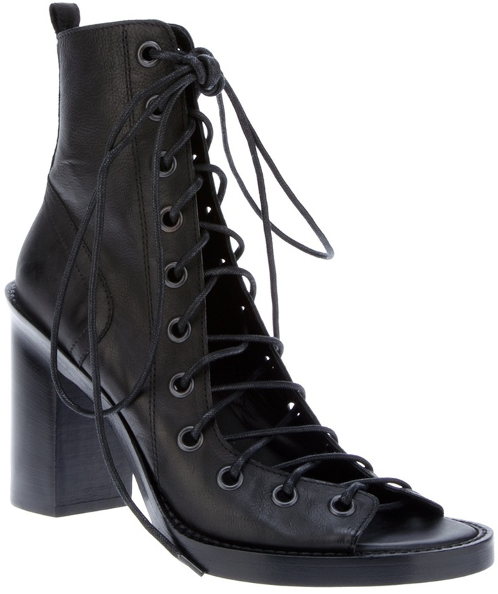 Ann Demeulemeester lace fastening ankle boot