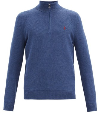 Polo Ralph Lauren Logo-embroidered Quarter-zip Cotton-mesh Sweater - Blue