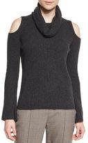 Elie Tahari Torrence Cashmere Cowl-Neck Cold-Shoulder Ribbed Sweater