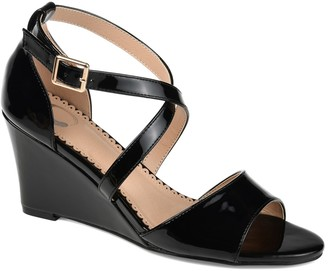 Journee Collection Stacey Cross Strap Wedge Sandal
