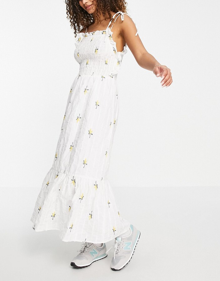 ASOS DESIGN textured shirred midi dress with floral embroidery in white