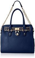 MG Collection Haley Studded Structured Satchel Shoulder Bag