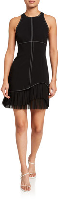 Cinq à Sept Cathy Sleeveless Crepe Dress with Pleating