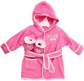 SpaSilk 100% Cotton Hooded Terry Bathrobe with Booties - Pink Butterfly - One Size