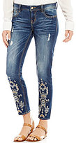 Miss Me Lasercut Embroidered Distressed Stretch Ankle Skinny Jeans