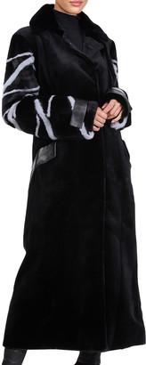 Burnett Mink Fur Leather Trim Coat