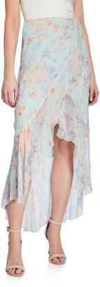 Alice + Olivia Caily Ruffled Mock Wrap Skirt