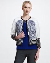 Etro Pleated Paisley Jacket, White/Blue