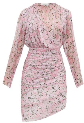 Giambattista Valli Draped Floral-print Silk-chiffon Dress - Womens - Pink Multi