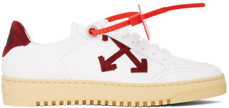 Off-White White and Burgundy 2.0 Sneakers