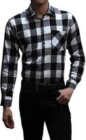 Pishon Men's Flannel Shirt Plaid Lightweight Long Sleeve Slim Fit Button Up Shirt